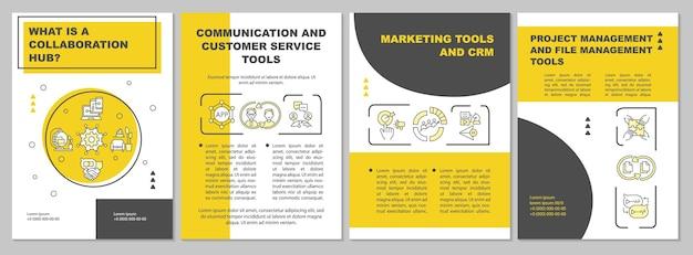 Vorlage für eine online-zusammenarbeitsbroschüre. kommunikation für die arbeit. flyer, broschüre, broschürendruck, cover-design mit linearen symbolen. vektorlayouts für präsentationen, geschäftsberichte, anzeigenseiten