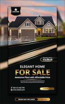 Vorlage für eine social-media-geschichte zum verkauf von immobilien