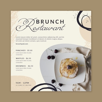 Vorlage für einen quadratischen flyer für brunch-restaurants