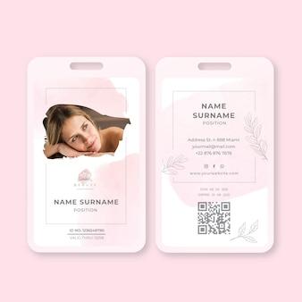 Vorlage für einen schönheitssalon-ausweis