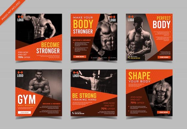 Vorlage für fitness-studio-instagram-postsammlung
