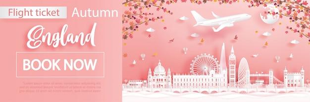 Vorlage für flug- und ticketwerbung mit reisen nach london