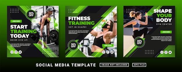 Vorlage für flyer oder social-media-beiträge. vorlage für social-media-beiträge im fitnessstudio