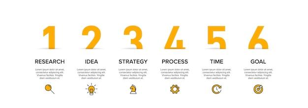 Vorlage für geschäftsinfografiken. sechs optionen oder schritte mit symbolen und text.
