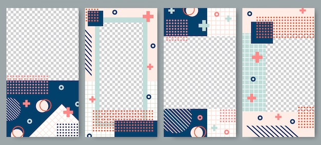 Vorlage für geschichten im memphis-stil. story post layout, hipster kunst social media beiträge branding und retro fotorahmen vektor-set