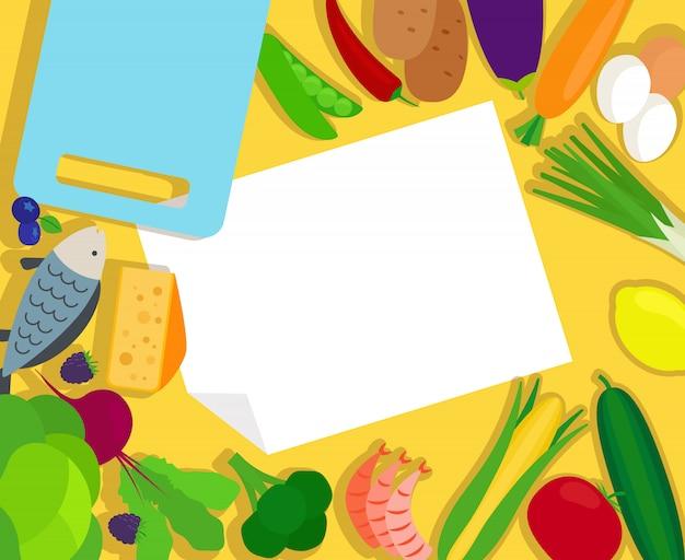 Vorlage für gesundes essen und leeres papier