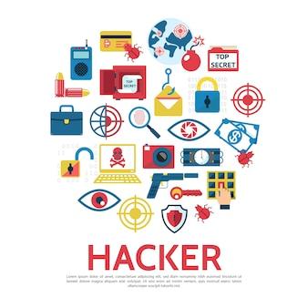 Vorlage für hacking-elemente im flachen stil