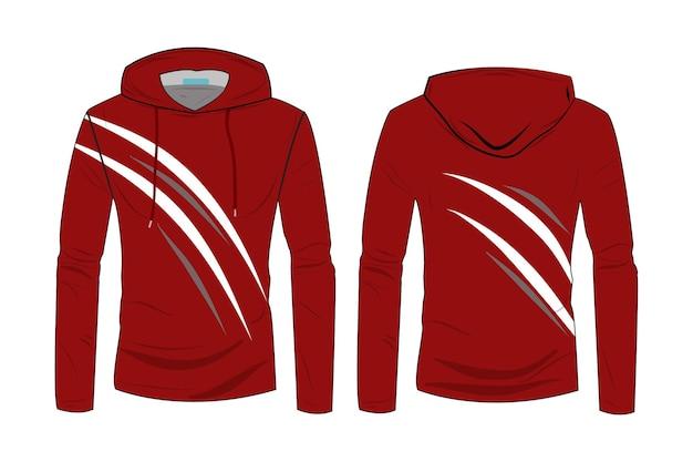 Vorlage für hoodies. langarm-sport-hoodie-jacken-design. winterjacke für herren und damen. modischer technischer kapuzenpullover mit track-vorder- und rückansicht.