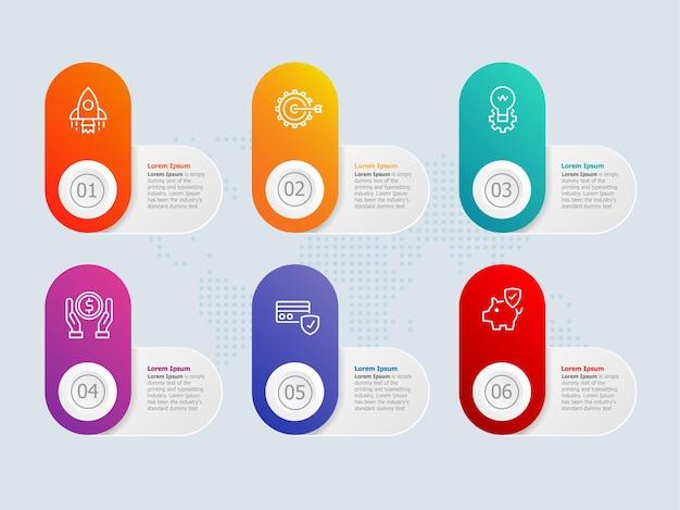 Vorlage für horizontale infografik-präsentationselemente mit optionen für das geschäftssymbol 6
