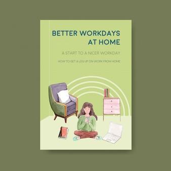 Vorlage für informationsratschläge, wenn personen von zu hause aus arbeiten. home-office-konzept aquarell vektor-illustration