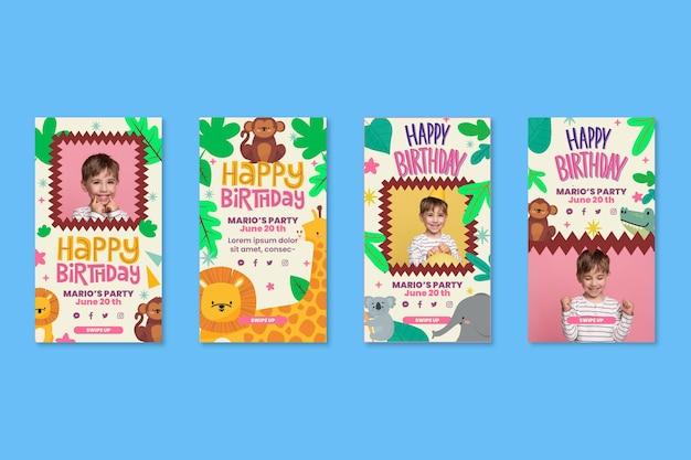 Vorlage für instagram-geschichten zum kindergeburtstag Kostenlosen Vektoren