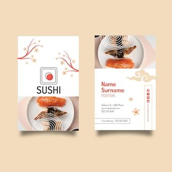 Vorlage für japanische restaurant-visitenkarten Premium Vektoren