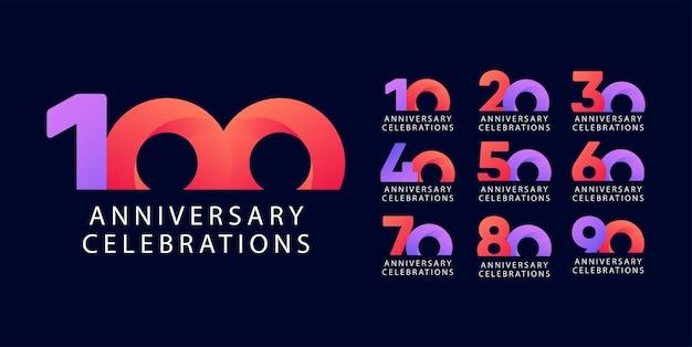 Vorlage für jubiläums-logokollektionen