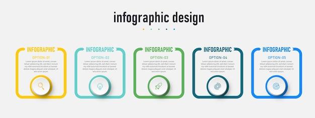 Vorlage für kreative infografiken für präsentationen mit 5 optionen