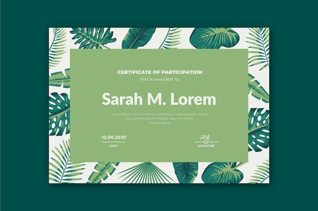 Vorlage für kreative zertifikatvorlage mit palmblättern