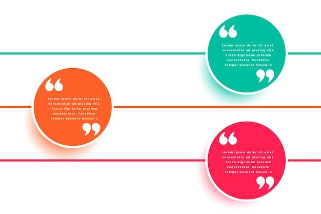 Vorlage für kreisförmige zitate in drei farben