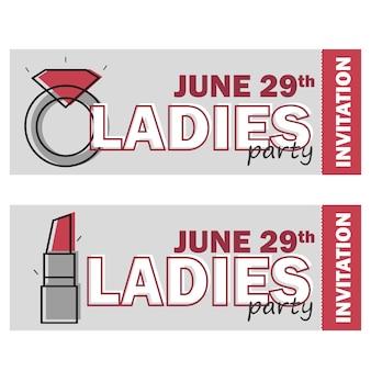 Vorlage für ladies night party flyer, bachelorette party einladung, vektorillustration in roten und grauen farben