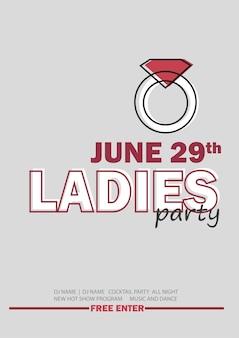 Vorlage für ladies night party mit linienzeichen - vektorillustration in grauer und roter farbe