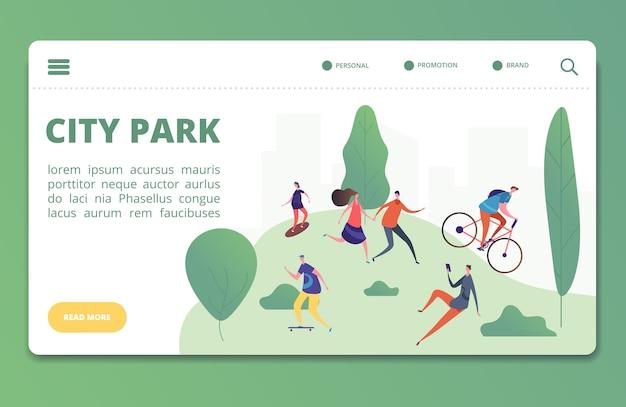 Vorlage für landingpage für outdoor-aktivitäten im frühling und sommer