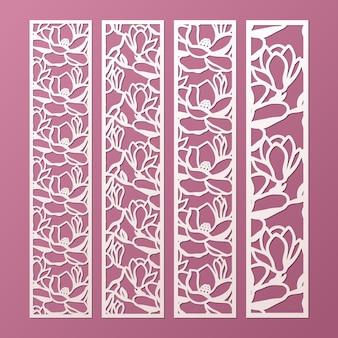 Vorlage für laser- und gestanzte ziertafeln mit muster aus magnolienblüten. spitzenpapier lesezeichen, randvorlagen schneiden. laubsägearbeitsplatte.
