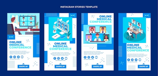 Vorlage für medizinische ig-geschichten im flachen design