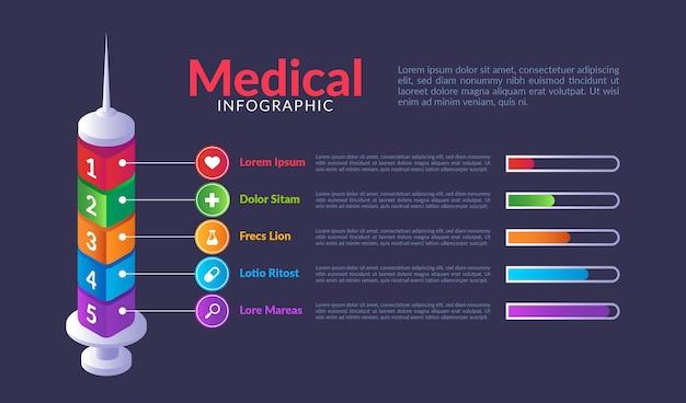 Vorlage für medizinische infografiken mit farbverlauf