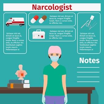 Vorlage für narkologen und medizinische geräte