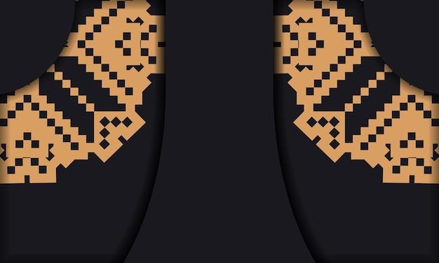 Vorlage für postkartendruckdesign mit luxuriösen mustern. schwarze bannervorlage mit slowenischen ornamenten und platz für ihr logo und ihren text.
