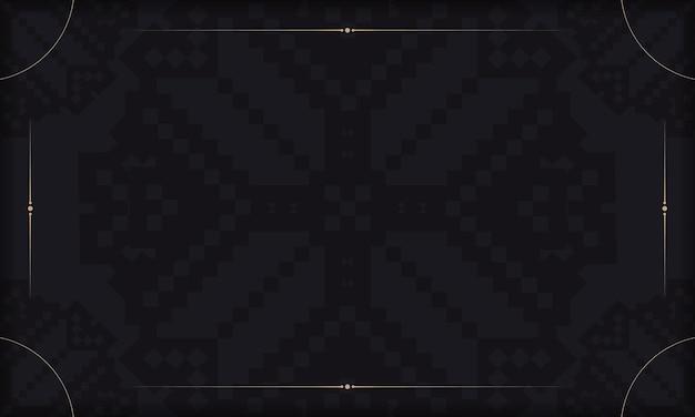 Vorlage für postkartendruckdesign mit luxusverzierung. schwarzer hintergrund mit slawischen vintage-ornamenten und platz für ihr logo.