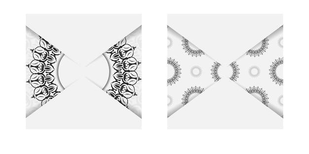 Vorlage für print-design-postkarten weiße farben mit mandala-ornament. vorbereitung einer einladungskarte mit platz für ihren text und vintage-muster.