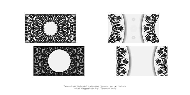 Vorlage für print-design von visitenkarten weiße farben mit mandala-ornament. vektorvisitenkartenvorbereitung mit platz unter ihrem text und schwarzen mustern.