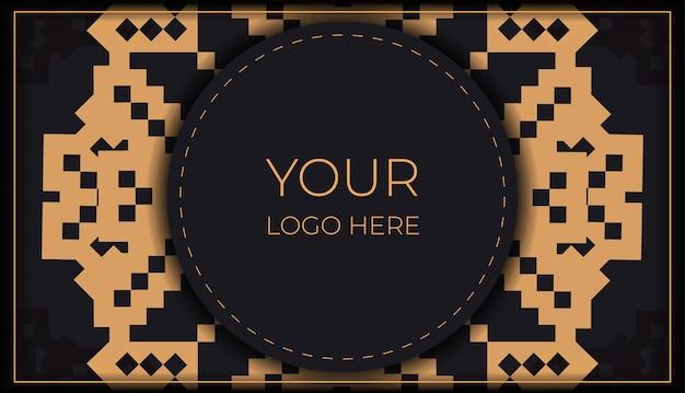 Vorlage für printdesign-postkarten in schwarz mit slowenischen mustern. vektorvorbereitung der einladungskarte mit platz für ihren text und vintage-ornamente.