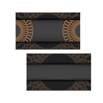 Vorlage für printdesign-visitenkarten in grauer farbe mit griechischen mustern. vektor visitenkartenvorbereitung mit platz für ihren text und vintage-ornament.