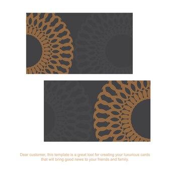 Vorlage für printdesign-visitenkarten in grauer farbe mit griechischen mustern. vorbereiten einer visitenkarte mit platz für ihren text und vintage-ornamente.