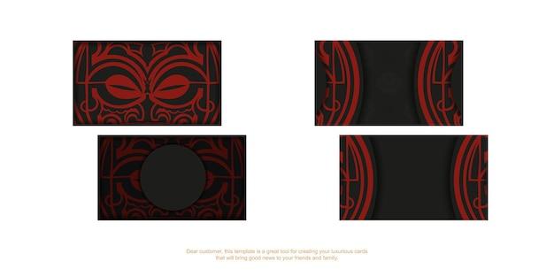 Vorlage für printdesign-visitenkarten in schwarz mit roten maori-maskenmustern.