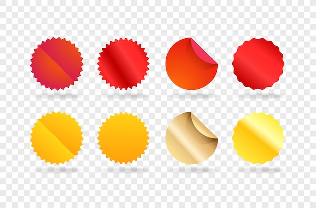 Vorlage für rote und goldene etiketten. elemente clipart isoliert auf transparentem hintergrund