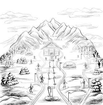 Vorlage für saisonale freizeitaktivitäten im winter