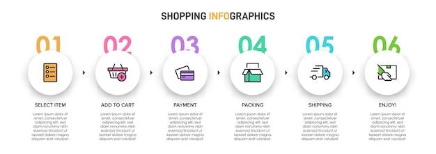 Vorlage für shopping-infografiken. sechs optionen oder schritte mit symbolen und text.