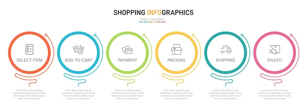 Vorlage für shopping-infografiken sechs optionen oder schritte mit symbolen und text