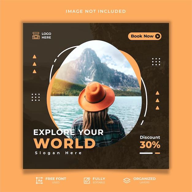 Vorlage für social-media-beiträge auf reisen