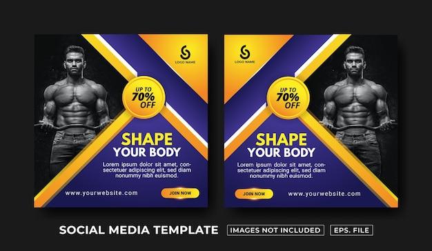 Vorlage für social-media-beiträge für fitnessstudio und fitness