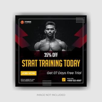 Vorlage für social-media-beiträge im fitnessstudio premium-vektor