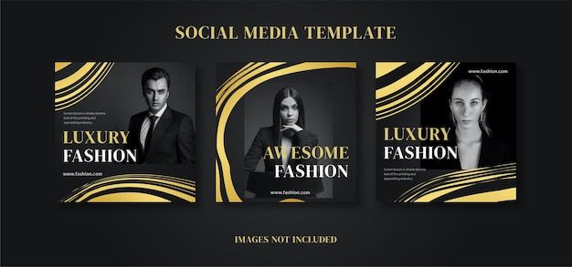Vorlage für social-media-feed-posts für luxusgoldmode fashion