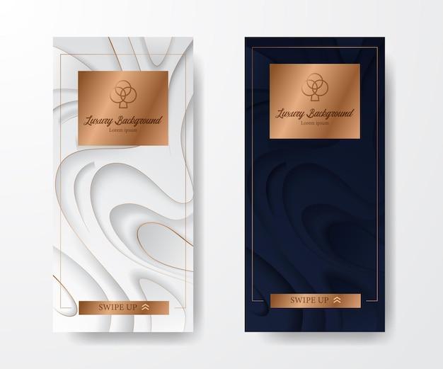 Vorlage für social-media-geschichten. elegante luxusschnitzerei mit blau und weiß mit gold