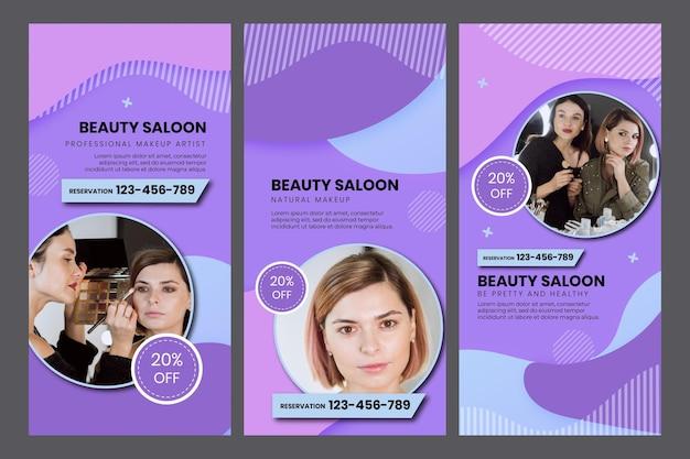 Vorlage für social media-geschichten im schönheitssalon
