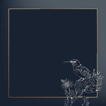Vorlage für soziale anzeigen mit quadratischem goldenem tropischem rahmen