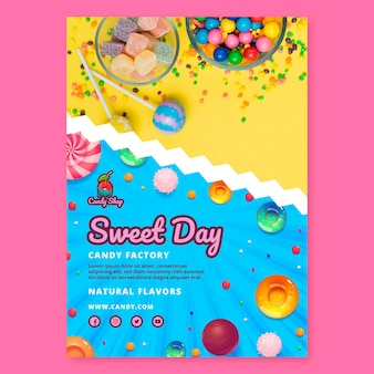 Vorlage für süßigkeitenfabrik-plakate