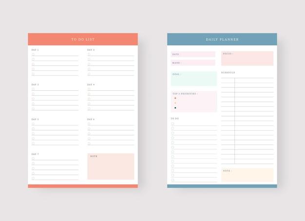 Vorlage für tages- und aufgabenplaner set mit planer und aufgabenliste