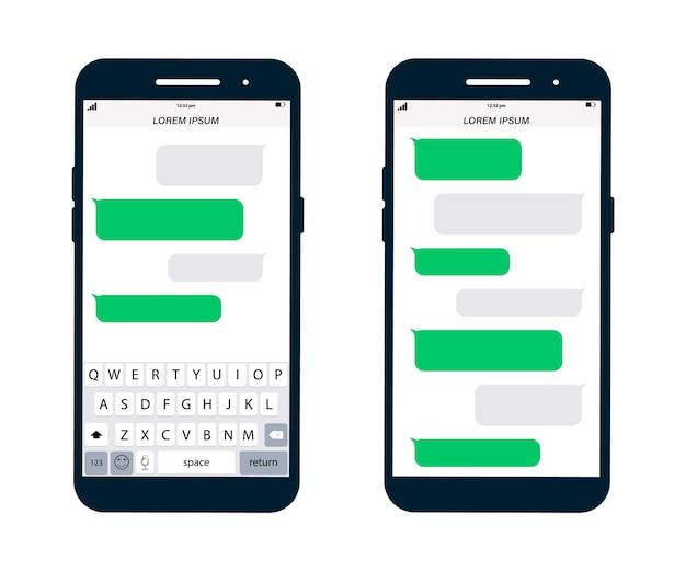 Vorlage für telefonnachrichten. smartphone, chat-sms-app-vorlagenblasen. platzieren sie ihren eigenen text in den nachrichtenwolken. messenger-seitenvorlage für soziale netzwerke. komponierte dialoge mit beispielblasen