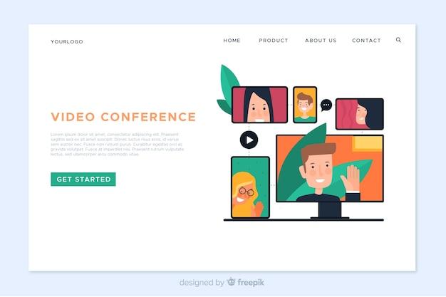 Vorlage für videokonferenz-landingpage